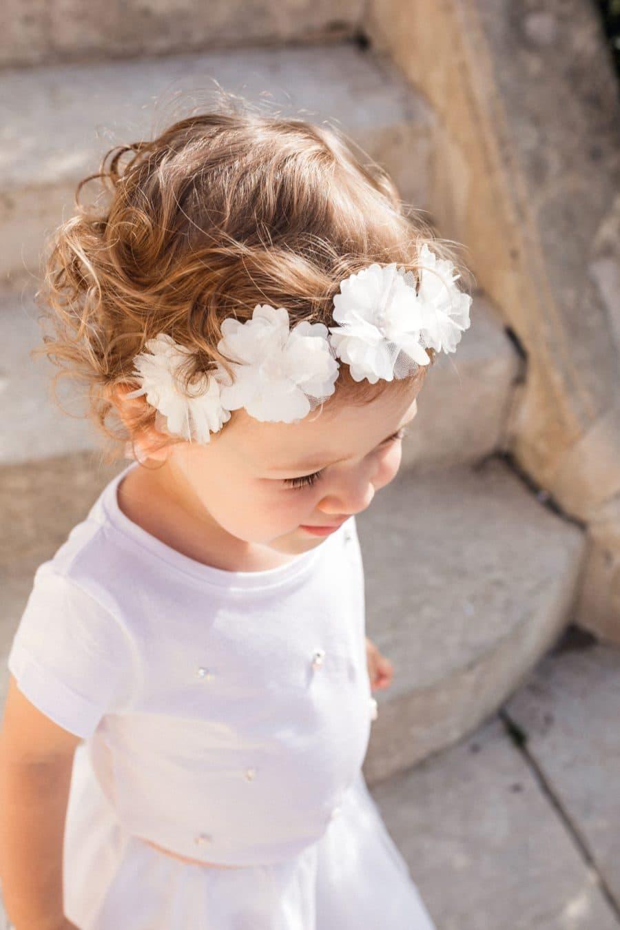 Couronne de fleurs bébé fille mariage