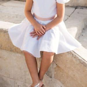 Jupe blanche et top blanc pour cérémonie, baptême ou communion