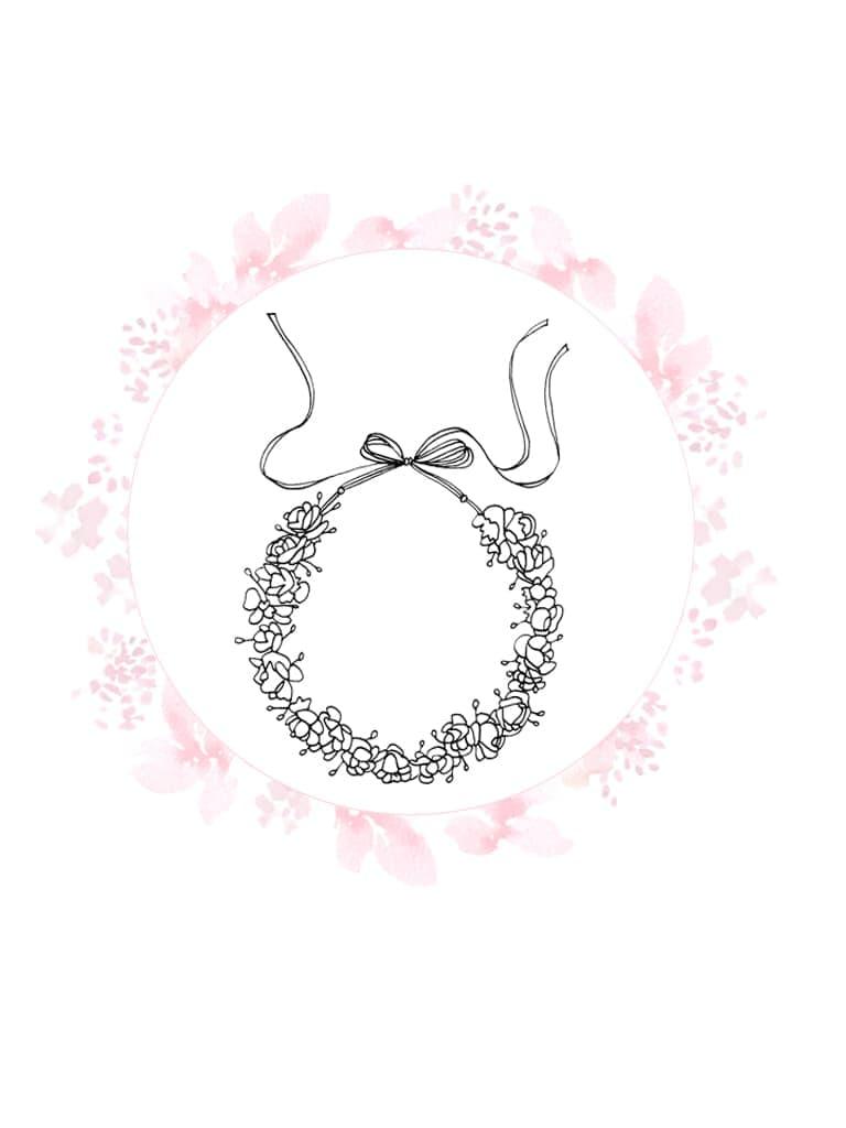croquis noir et blanc couronne de fleurs à personnaliser