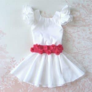 tenue mariage robe fille avec ceinture fleurs fuchsia