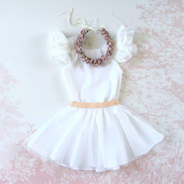 Robe blanche petite fille d'honneur