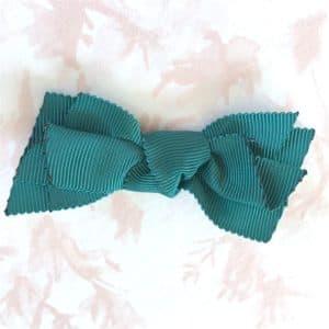 barrette fille noeud vert émeraude