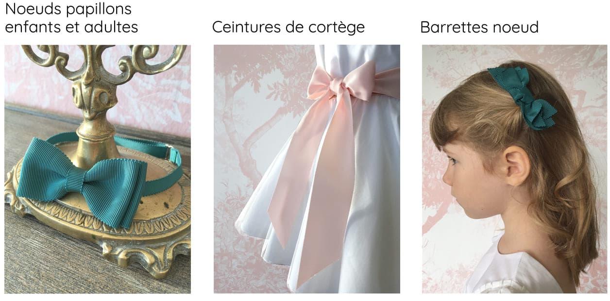 Accessoires cortège assortis : noeud, ceinture, barrette