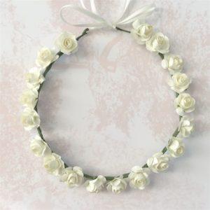 couronne fleurie blanche pour petite fille mariage