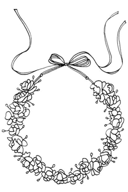 Croquis noir et blanc couronne de fleurs