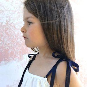 Bretelles coloris au choix, robe blanche, mariage petit fille