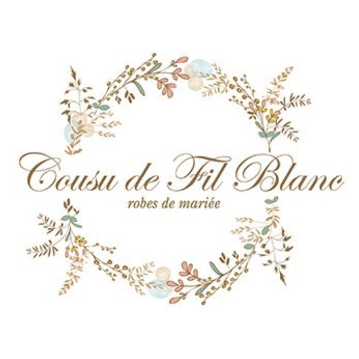 logo boutique mariage cousu de fil blanc
